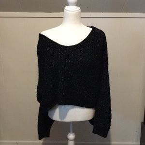 Black & Silver Off the Shoulder Knit Sweater